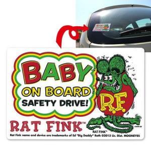 ラットフィンク BABY ON BOARD ステッカー RAT FINK カーアクセサリー 車用品 アメリカ雑貨 アメリカン雑貨|texas4619