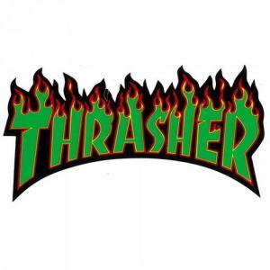 スラッシャー FLAMEステッカー(GREEN) スケートボード スケボー THRASHER アメリカ雑貨 アメリカン雑貨|texas4619
