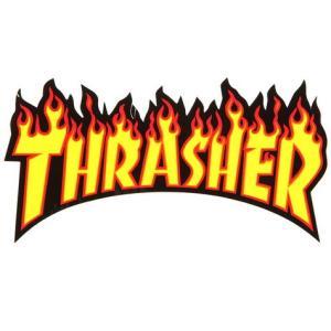 スラッシャー FLAMEステッカー(YELLOW) スケートボード スケボー THRASHER アメリカ雑貨 アメリカン雑貨|texas4619