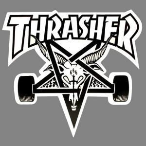 スラッシャー SKATEGOATステッカー(WHITE) スケートボード スケボー THRASHER アメリカ雑貨 アメリカン雑貨|texas4619