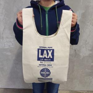 PAN AM エコバッグ コットンマルシェバッグ LAX ロサンゼルス空港 アメリカ雑貨 アメリカン雑貨|texas4619