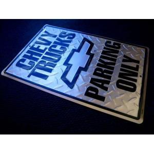 ティンサインプレート(CHEVY TRUCKS PARKING ONLY) シボレー 看板 インテリア アメリカ雑貨 アメリカン雑貨 texas4619