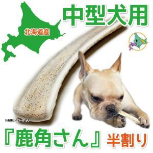 中型犬用 蝦夷鹿の角 『鹿角さん』 半割りタイプ 1本 天然 無添加 北海道産 犬のおもちゃ かむおもちゃ エゾ鹿 エゾシカ ツノ デンタル|tezukuriyasan