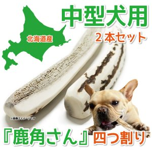中型犬用 蝦夷鹿の角 『鹿角さん』 四つ割りタイプ 2本セット 天然 無添加 北海道産 犬のおもちゃ かむおもちゃ エゾ鹿 エゾシカ ツノ デンタル|tezukuriyasan