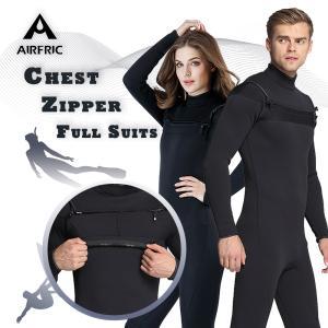 AIRFRIC ウェットスーツ チェストジップ フルスーツ メンズ レディース 3mm サーフィン ...