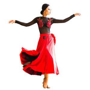 DaisyDance 社交ダンスドレス ラテンドレス パソスカート パソドブレ 競技ダンス デモンストレーション パーティー用 レッスンウェア UA28|tfashion