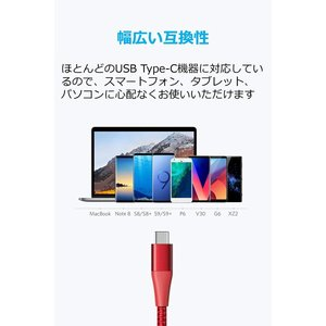 Anker PowerLine+ II USB-C & USB-A 2.0ケーブル (1.8m レッ...