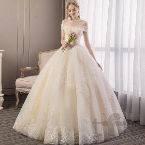 ウェディングドレス ウェディングドレス白 パーティードレス レース オフショルダー 花嫁ロングドレス...