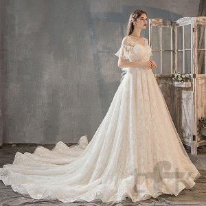 ウェディングドレス ウェディングドレス白 パーティードレス パフスリーブ 花嫁ロングドレス 簡約 結...
