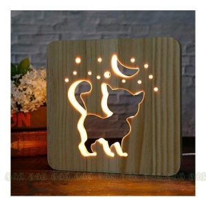 間接照明、USB 常夜灯 テーブルライト 0 創造的な木製テーブルランプ可愛い3 D彫刻パターン月子...