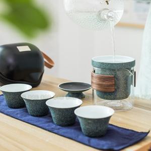 茶器セット 茶芸 陶器 ガラス 半透明 高級 携帯式 軽量 カンフー茶 茶具セット ティーポット 通...
