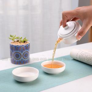 茶器セット 茶芸 陶器 携帯式 軽量 カンフー茶 茶具セット ティーポット 通勤 旅行 収納バッグ付...