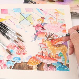 水彩画筆 ペン 6本セット  水彩画用筆  丸筆 アーティスト用  美術 画材 初心者用