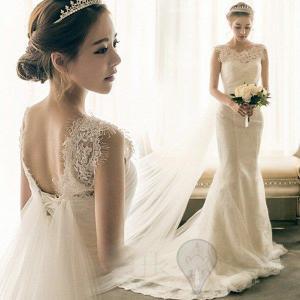 ウェディングドレス 結婚式 ホワイトドレス 花嫁 披露宴 ロング トレーン 引き裾 ノースリーブ 撮...