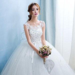 ウェディングドレス/ドレス/結婚式/二次会/ホワイト/花嫁/ウェディング/エンパイア/白ドレス/ロン...