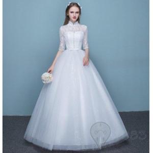 ウエディングドレス 結婚式 5分袖  二次会   安い プリンセス エンパイア 花嫁 ドレス 白 披...