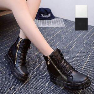 ブーツ スニーカー ハイカットスニーカー スニーカーブーツ インヒール 厚底 プラットフォーム 靴 ...