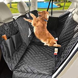 TrutDotペット用ドライブシート 可視メッシュ窓 車内用ペットシート ペット安全ベルト付き ペットドライブシート後部座席 滑り止め シー|thanks-tuhan