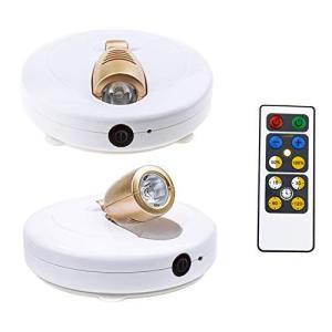 スポットライトライティング 間接照明 電池式 工事不要 LEDスポットライト リモコン付き 展示ライト ホワイト キッチンライト ワイヤレス|thanks-tuhan
