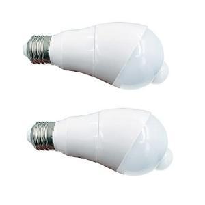 LED電球 人感センサー付 明暗センサー 斜め 自動点灯/消灯 360度回転 検知角度調節 センサーライト 人感(電球色5W-E26-2個セ|thanks-tuhan