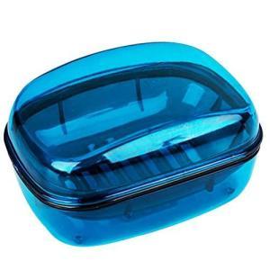 NUOLUX 石鹸ケース ソープディッシュ 石鹸箱 滑り止め 洗いやすい お風呂用 バス 洗面所 ラベル 出張 旅行 携帯便利 青|thanks-tuhan