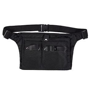 Frcolor シザーケース 美容師 シザーバッグ エプロンバッグ ベルト付 ー ハサミバッグ 散髪ツール バッグ プロ様 男女兼用(黒)|thanks-tuhan
