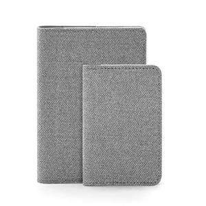 COSMOS MUSE ウォームグリップシリーズ 名刺入れ+パスポートケース セット 薄型 大容量 メンズ レディース (フレンチグレー)|thanks-tuhan