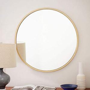 鏡 ミラー 壁掛け鏡 バスルームミラー 化粧鏡 リビング 玄関 洗面 トイレ 店舗 おしゃれ ヨーロッパ調 壁掛けミラー(ゴールド, 円形直|thanks-tuhan