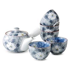 茶器 おしゃれ : 有田焼 一珍山茶花 急須茶器セット Japanese Tea set(Tea pot x1pcs/Cup x5pcs)|thanks-tuhan