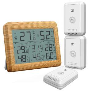【送料無料】ORIA デジタル温湿度計 外気温度計 温度湿度計 ワイヤレス 室外 室内 三つセンサー...