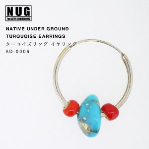 【NATIVE UNDER GROUND】 ターコイズリングイヤリング/ハンドメイドシルバー|thcraft-official