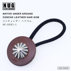 【NATIVE UNDER GROUND】 コンチョレザー ヘアゴム  / ハンドメイドシルバー ヘアアクセサリー|thcraft-official