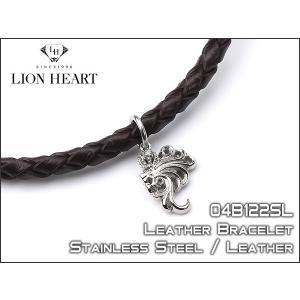 LION HEART ライオンハート ブラウンレザーブレスレット シルバー ライオン クラウン 04B122SL|the-article