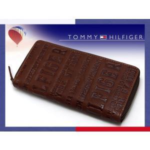 TOMMY HILFIGER トミー ヒルフィガー 本革 ラウンドファスナー長財布 ダークブラウン タンカラー 0091-5846-04 31TL13X026-251 ネコポス不可 the-article