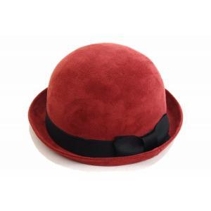 36c3282e206699 ボーラーハット 7771003 レッド 赤 帽子 レディース 婦人 ダービーハット フォーマル 上品 シンプル カジュアル 結婚式 敬老の日  ネット通販 秋冬