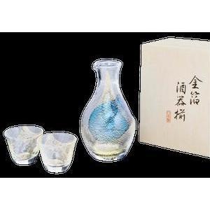 東洋佐々木ガラス 冷酒用 グラス 酒グラスコレクション 金箔 冷酒 カラフェ 300ml + 杯 80ml ×2コ G640-M60|the-fuji