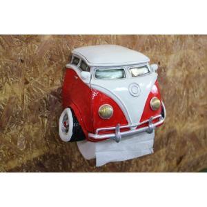 fc2dfd006e アメリカン雑貨 ワーゲンバス型 白×赤 アメ車 トイレットペーパーホルダー レジン製 インテリアオブジェ