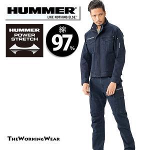 作業服 作業着 305-44 HUMMER 綿素材 ストレッチブルゾン×カーゴパンツ インディゴネイビー 上下セット 大きいサイズ ハマー|the-workingwear