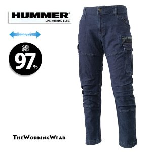 【HUMMERシリーズストレッチカーゴパンツ】 作業着 作業服 ハマー 綿 大きいサイズ|the-workingwear