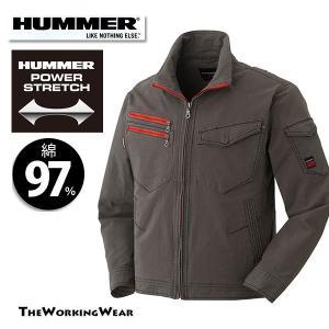 作業服 ブルゾン 作業着 長袖ブルゾン 通年用 603-4 HUMMER ストレッチ ブルゾン スリムスタイル 3L 4L 5L 大きいサイズサイズ|the-workingwear