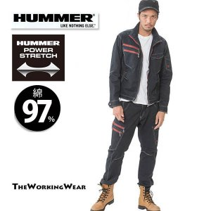 作業服 上下セット 作業着 通年用 603-4444 HUMMER綿素材 ストレッチ長袖ブルゾン×カーゴパンツ ネイビー 上下セット|the-workingwear