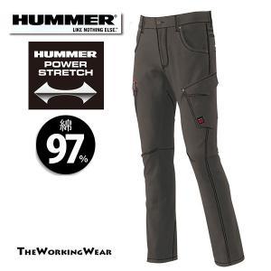 作業服 作業着 カーゴパンツ 通年用 607-1 HUMMERストレッチ パンツ スリムスタイル 3L 4L 5L 大きいサイズ|the-workingwear