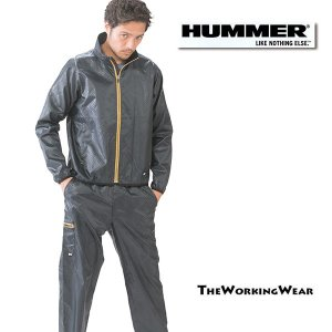 【HUMMER ブレーカージャケット×カーゴパンツ ブラック 上下セット】 作業着 作業服 防寒服 撥水|the-workingwear