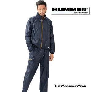 【HUMMER ブレーカージャケット×カーゴパンツ ネイビー 上下セット】 作業着 作業服 防寒服 撥水|the-workingwear