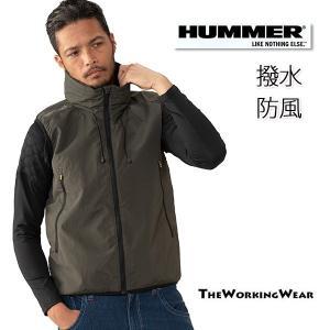 防寒着 作業服 作業着 HUMMER 撥水防風ベスト 裏メッシュ  大きいサイズ ダブルラッセル ウインドブレーカー|the-workingwear