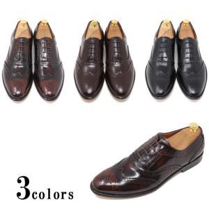 ハンドメイド 本革 レザーソール ウイングチップ フルブローグ ダービーマッケイ製法 革靴 革底 ブラック ダークブラウン 紳士靴|the-zabby
