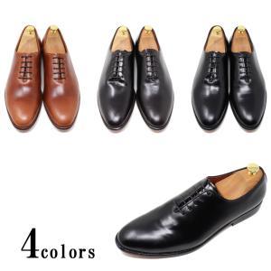 ハンドメイド 本革 ホールカット プレーントゥ レザーソール ビジネスシューズ ブラック ダークブラウン ライトブラウン マッケイ製法 革底 革靴|the-zabby