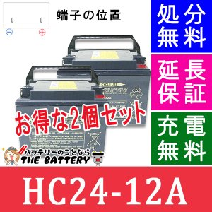HC24-12A 電動車椅子 バッテリー 日立 サイクルバッテリー 2個セット 互換 SC24-12 SER24-12|thebattery