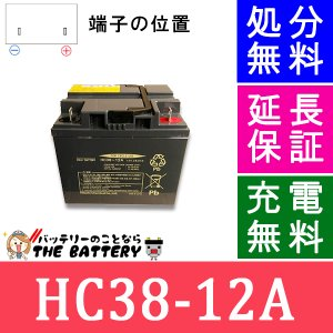 HC38-12A 電動車椅子 バッテリー 日立 サイクルバッテリー 互換 SC38-12 SER38-12|thebattery
