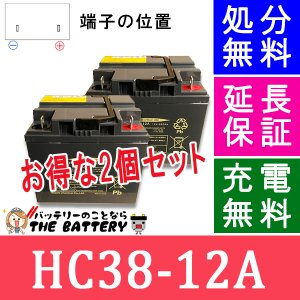 HC38-12A 電動車椅子 バッテリー 日立 サイクルバッテリー 2個セット 互換 SC38-12 SER38-12|thebattery